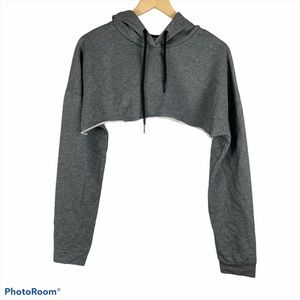LF Emma & Sam Cropped Gray Hoodie Sweatshirt S